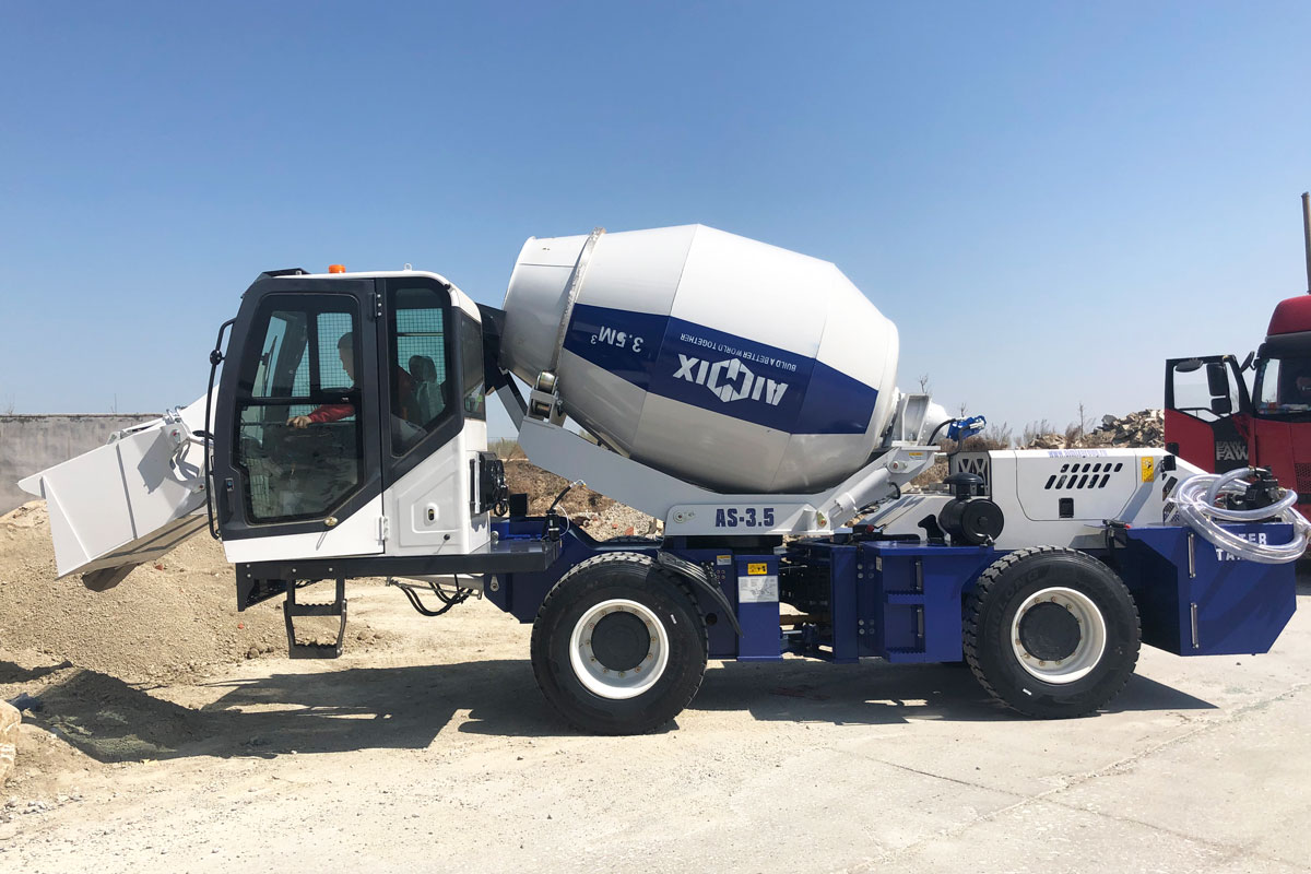 concrete mixer with self-loading design