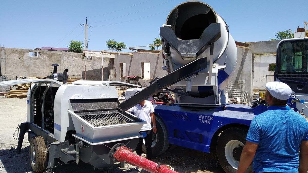 AS-4.0 Self-loading Concrete Mixer and ABT60C Concrete Pump Working in Uzbekistan