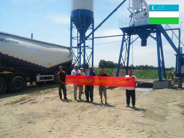 AJ-35 small concrete plant installed in Uzbekistan