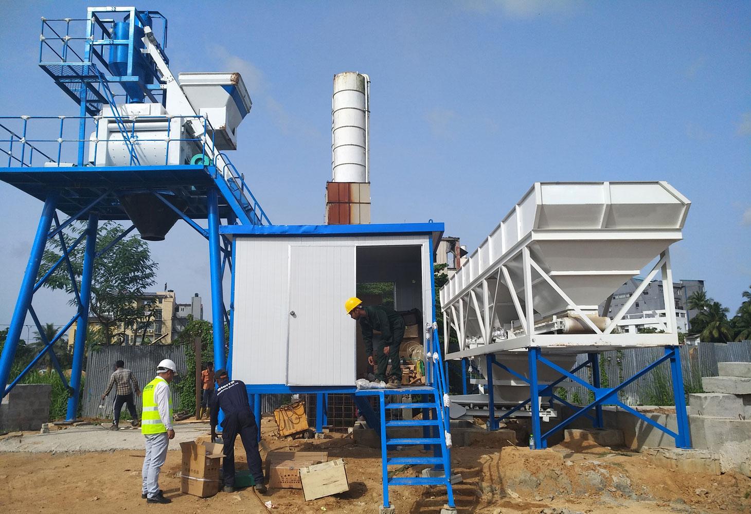 AJ-50 small concrete plant installed in Sri Lanka