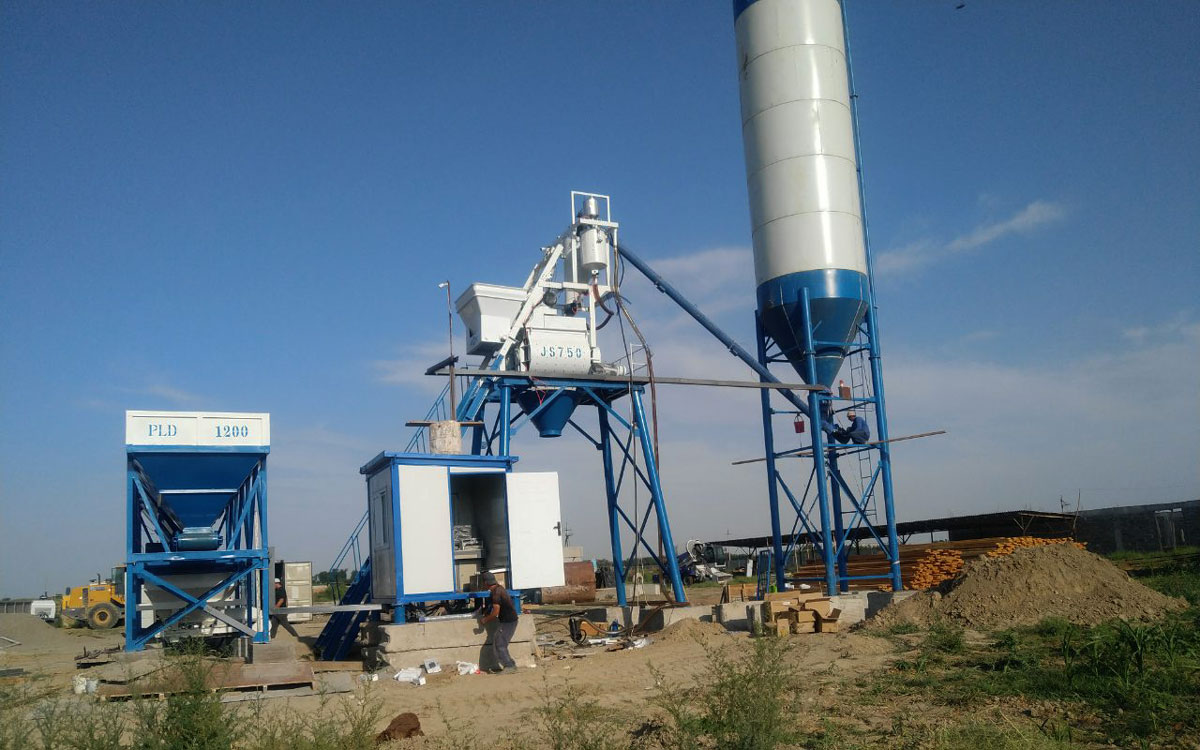 Install AJ-35 small concrete plant in Uzbekistan