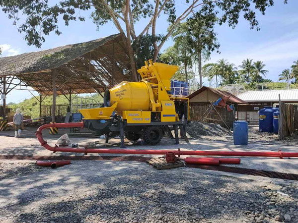 ABJZ40D electric concrete mixer pump worked in Indonesia